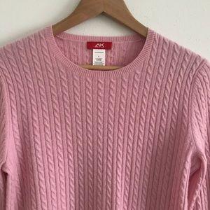 Anne Klein Sport pink cashmere crewneck sweater